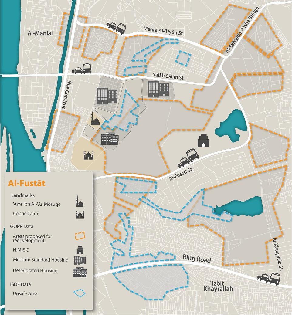 Parks replacing homes in Al-Fusṭāṭ