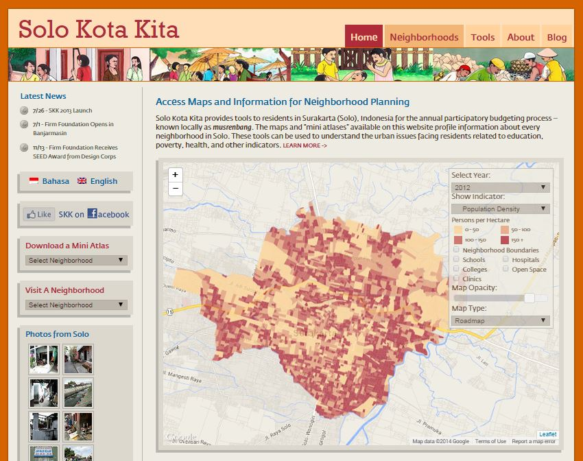 Solo Kota Kita's homepage showing an interactive map that displays information about each of Solo's neighborhoods.