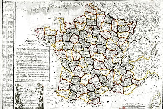 Map of the France's départements in 1793 (Source: Passions et partage)