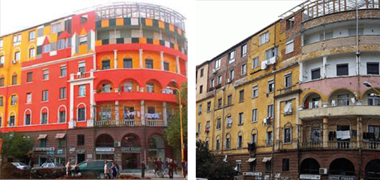 One of the First Repainted Buildings of Tirana, Albania (Source: Rudi.net)