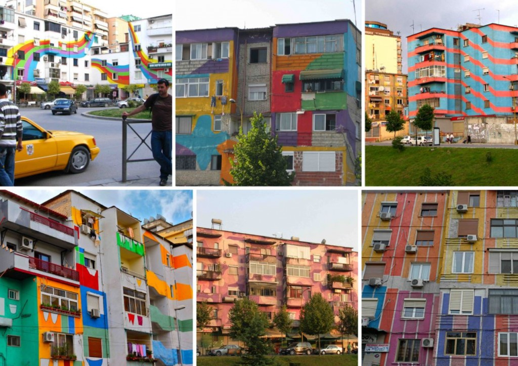 Painted Buildings in the Albanian Capital (Source: Mynewcupofcoffee.com)