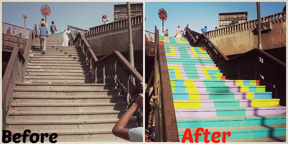 The Stairs of the Ghamra Metro Station before and after Coloring a Grey City's intervention (Source: Coloring a Grey City Facebook page, 2014)