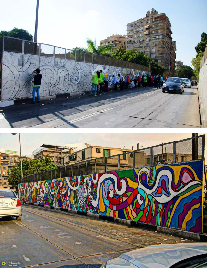 A Wall of the Fārūq Bridge in Ma`ādī Painted in Partnership with Cairo Dish Painting Initiative (Source: Coloring a Grey City Facebook page, 2014)