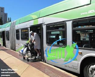 الإتاحة الشاملة: يوجين، أوريجون، الولايات المتحدة الأمريكية. مصدر الصورة: معايير نظام النقل السريع القياسية