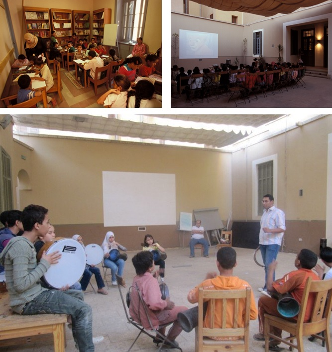 The restored school building provided local residents, particularly the children, with some much-needed space.  Clockwise from top left: The library, a movie screening, and a music class.  Sources: AKTC and al-Mawrid al-Thaqāfī