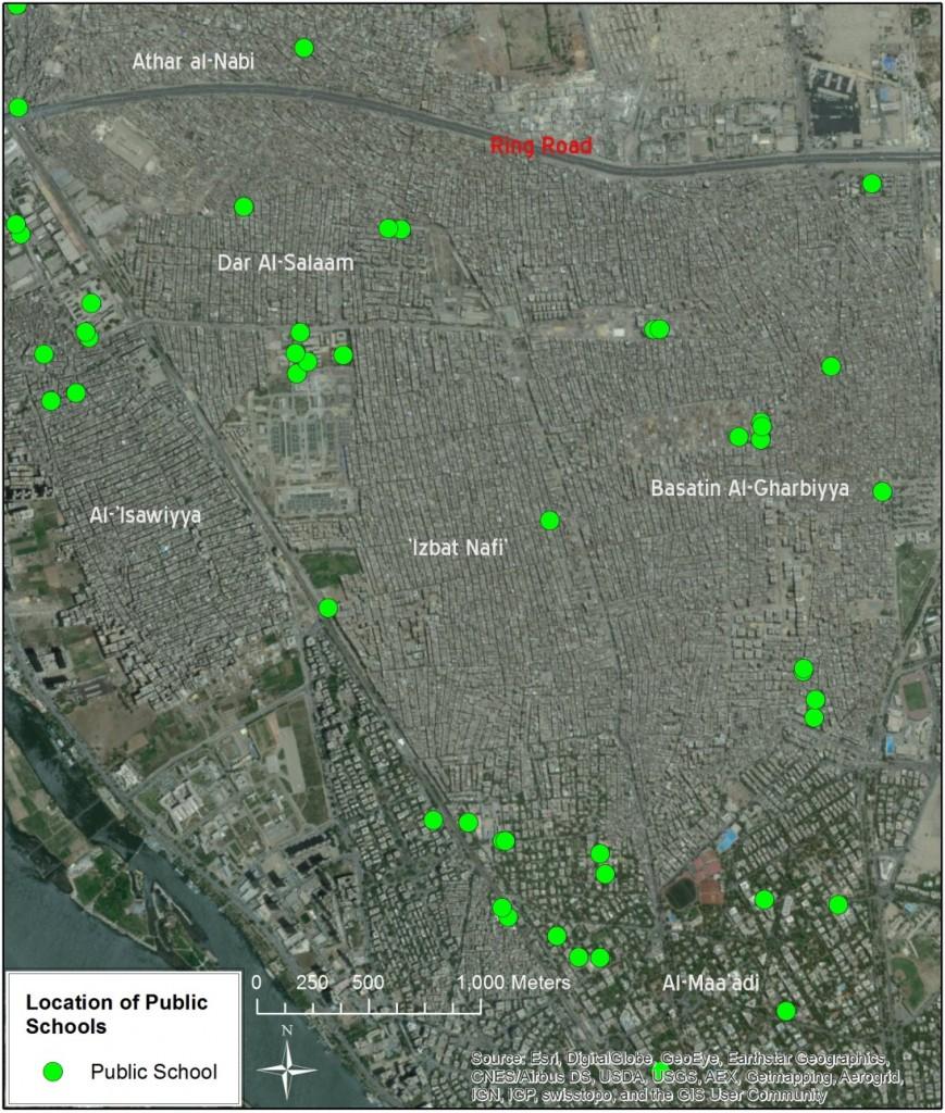 Location of Public Schools in 'Izbit Nāfi' / Dar Al-Salām / Wist Basātīn. (Source: Public school locations – GOPP)