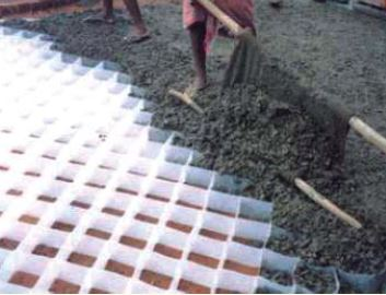 Figure 3: Concrete poured in plastic sheet formwork Source: Pandey, 2006
