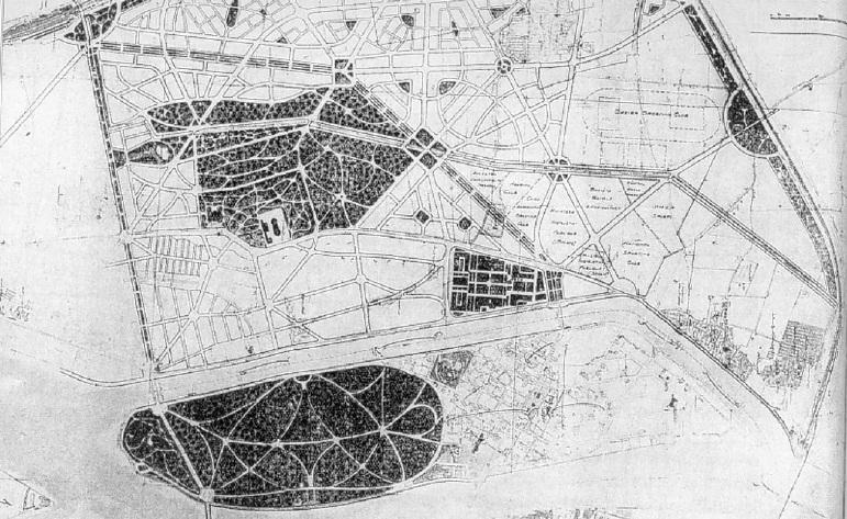 التصورات الأولى لمدينة البر الغربي من عشرينيات القرن العشرين  (محبوب 1934-1935)، محمود صبري محبوب. المصدر: فوليه 2001