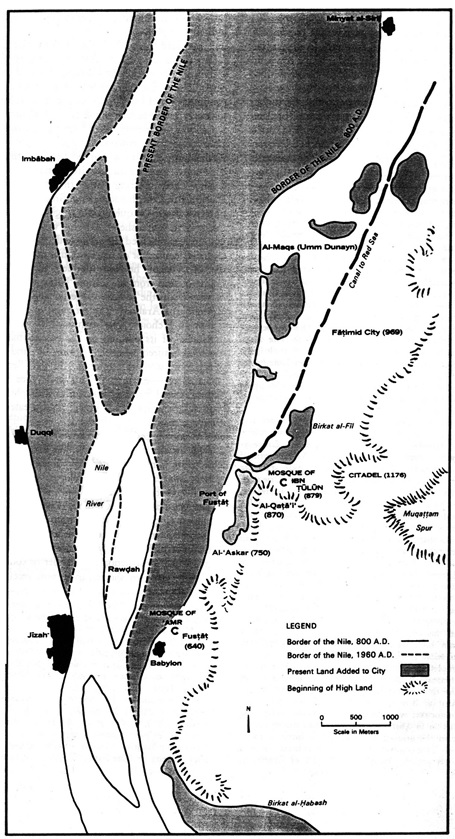 خريطة للقاهرة تظهر أماكن التجمعات العمرانية الكبرى عام 1397 م وتظهر بها إمبابة  (المصدر:( Cairo 1001 Years of the City victorious, Janet L. Abu-Lughod