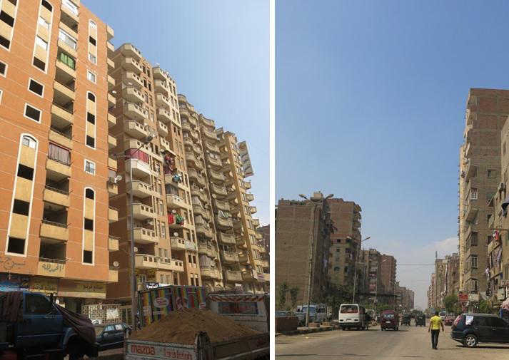 اليمين : شارع القومية العربية . اليسار: الأبراج السكنية في شارع القومية العربية.  (تضامن، 2015)