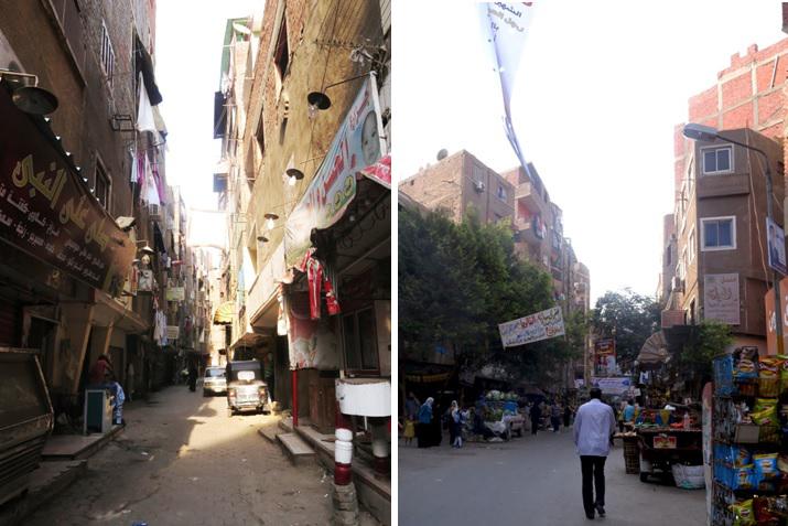 يمين : شارع عبد النعيم الشهير بعزبة الصعايدة . يسار : أحد الشوارع الفرعية بمنطقة عزبة الصعايدة (تضامن، 2015)