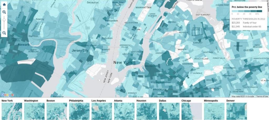 المصدر: ماثيو بلوش، ماثيو إريكسون وتوم جيراتيكانون، جريدة نيويورك تايمز. خريطة الفقر في أمريكا: بيانات من مكتب الإحصاء الأمريكي توضح أين يعيش الفقراء. 4 يناير 2014.