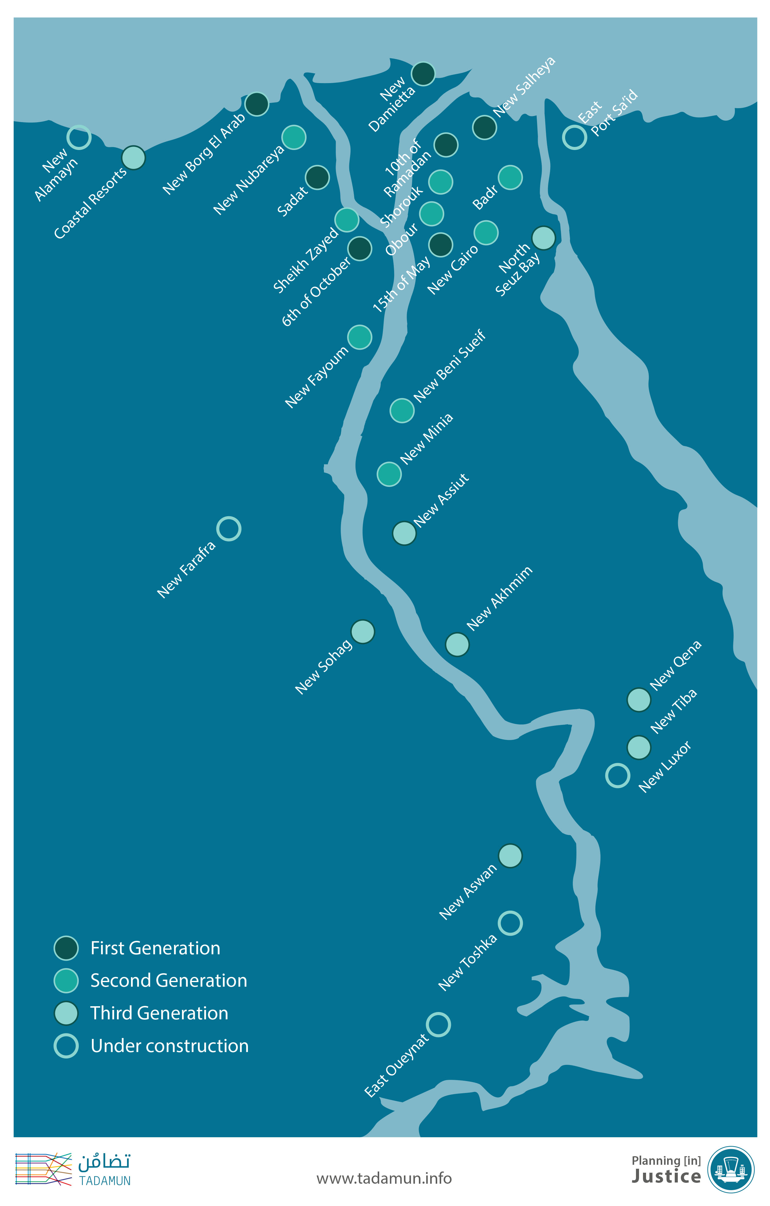 Egypts New Cities Neither Just Nor Efficient Tadamun - Map of egypt with cities and towns