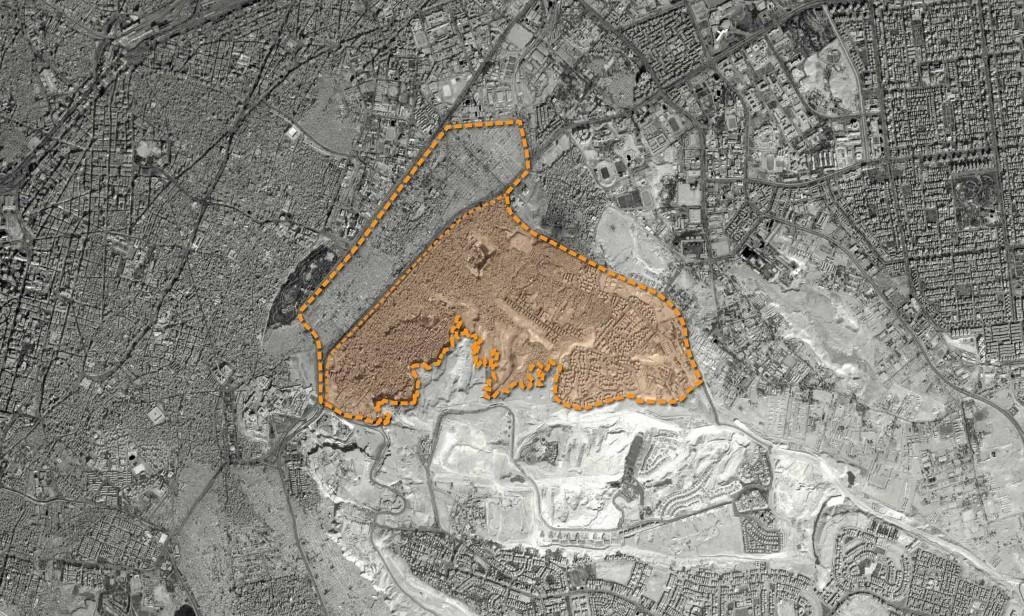 الحدود الإدارية لحي منشأة ناصر (منشية ناصر)، والمنطقة المظللة محل الدراسة.
