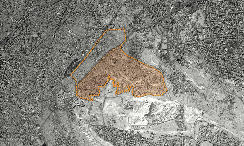 8ce6df75f الحدود الإدارية لحي منشأة ناصر (منشية ناصر)، والمنطقة المظللة محل الدراسة.