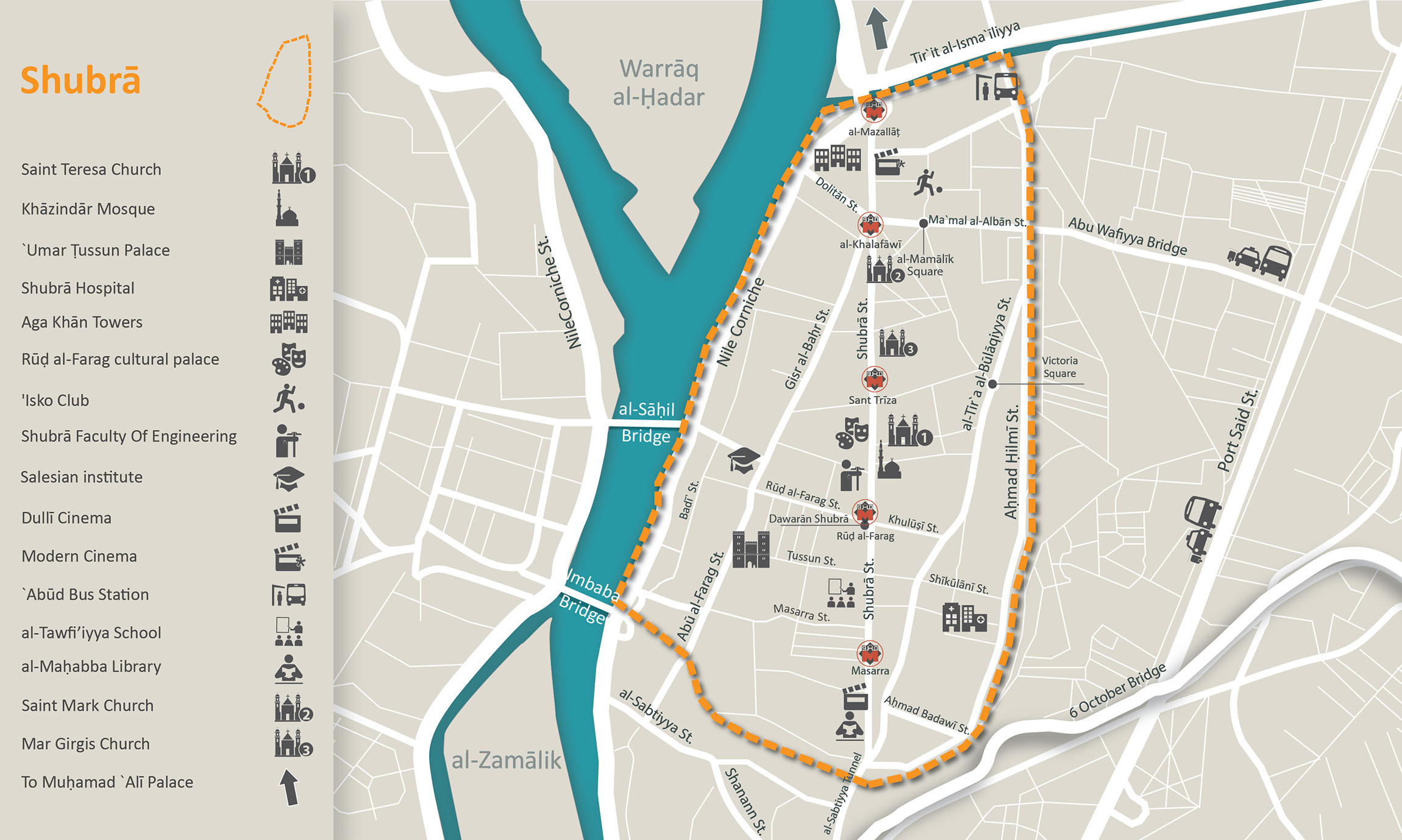 Shubra's main landmarks as highlighted by its residents
