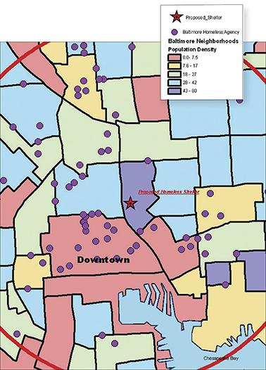 خريطة توضح كثافة السكان فى مختلف المناطق وموقع مراكز الخدمات الحالية للمشردين فى دائرة نصف قطرها 1.5 ميل حول الملجأ المقترح. المصدر: www.esri.com