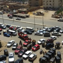 Unregulated traffic flow at intersection on al-Sha`rawi st. (Photo: Heba Mannoun, used with permission)