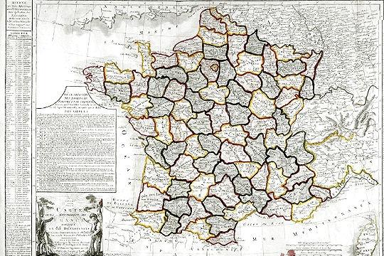 خريطة توضح المحافظات في فرنسا في عام 1793 (المصدر: باسيون وبارتاج)