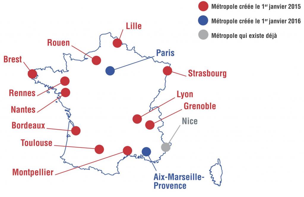 13 مدينة كبرى (باللونين الأحمر والأزرق) تم إنشاؤها بواسطة قانون 27 يناير 2014 (الموقع الرسمي للحكومة الفرنسية،2014)