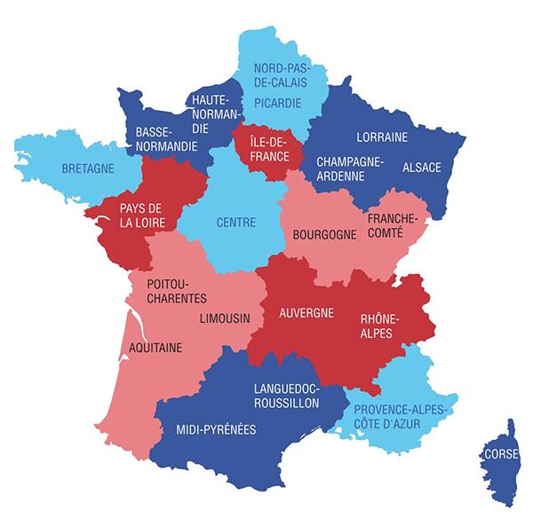 13 إقليم جديد تم إنشاؤهم بواسطة مشروع القانون الجديد الذي يناقش حاليا في البرلمان (الموقع الرسمي للحكومة الفرنسية، 2014)