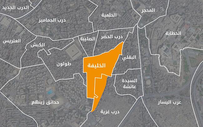 المناطق المحيطة بالخليفة - أعلى: خريطة الأحياء. أسفل: خريطة الشياخات.