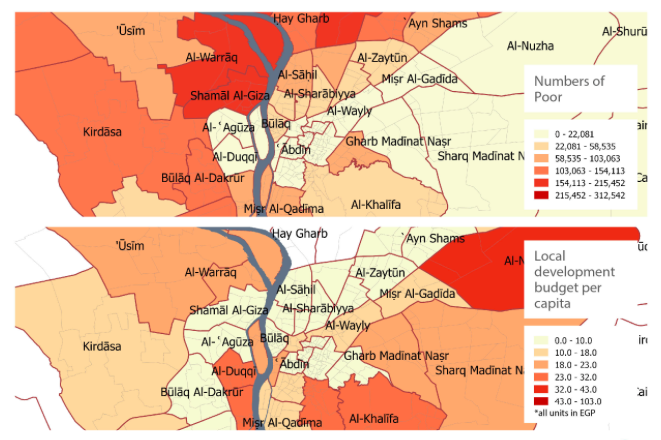 The number of people below the poverty level (top map) compared to the local development budget per capita (bottom map) in the Greater Cairo Region. (Source: TADAMUN: The Cairo Urban Solidarity Initiative, 2015).