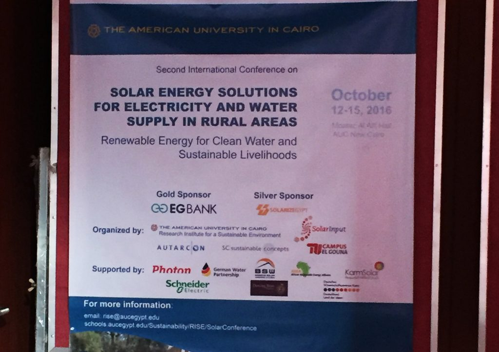 The conference focused on renewable energy solutions for the provision of electricity and clean water.