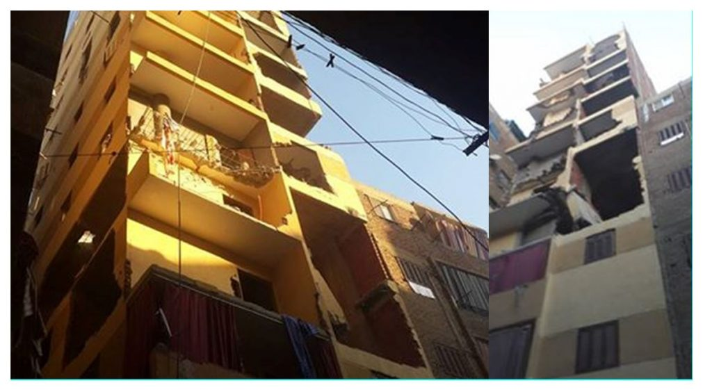 Image 5: Two buildings scheduled for demolition in al-Basatīn due to illegal construction of additional floors, which are perched rather precariously, perhaps posing a danger to the attached buildings. Source: al-Basatīn District Chief Facebook Page, 2016.