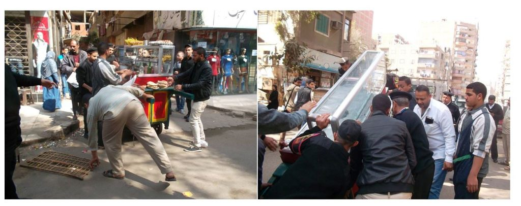 Image 7: The ʿAin Shams District Chief and his team impound a food cart.  Source: ʿAin Shams District Chief Facebook Page, 2016.