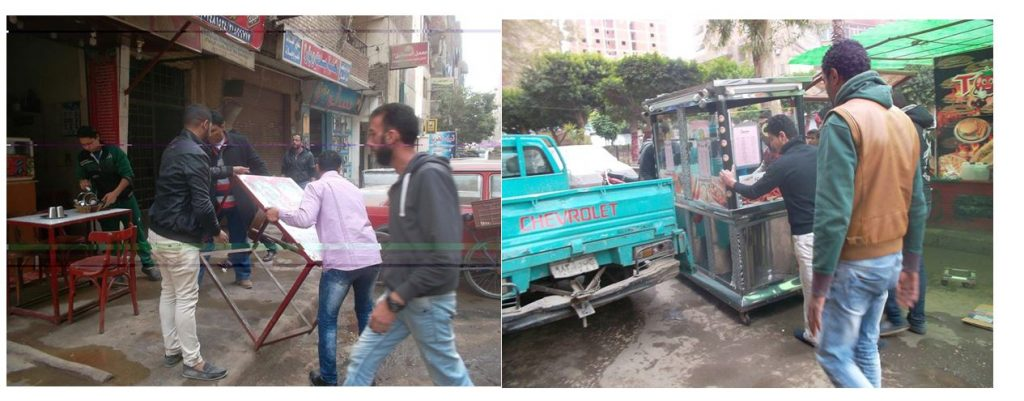 Image 8: Removing street encroachment of an illegal sidewalk coffee-shop and fūl cart [a breakfast mainstay in Egypt of stewed broad beans].  Source: ʿAin Shams District Chief Facebook page, 2016.