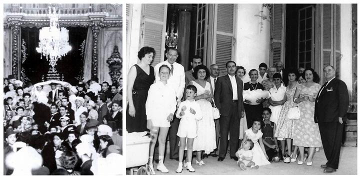 يهود حي الظاهر في الصورة إلى اليمين، عائلة يهودية في عتص حاييم، 3 شارع قنطرة غمرة، المصدر. وإلى اليسار، حفل زفاف في نيفي شالوم، ميدان طور سينا، المصدر.