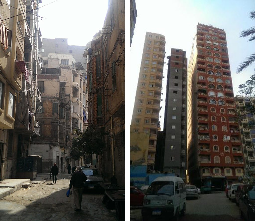 A comparison between the old buildings of the area (left) and new high-rise buildings (right) (Soure: Author)