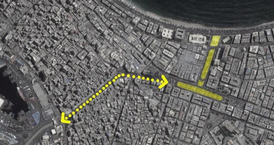 Figure 6. Map showing Nasr Road connecting Manshiyya Square to the port. (Source: Google Maps)