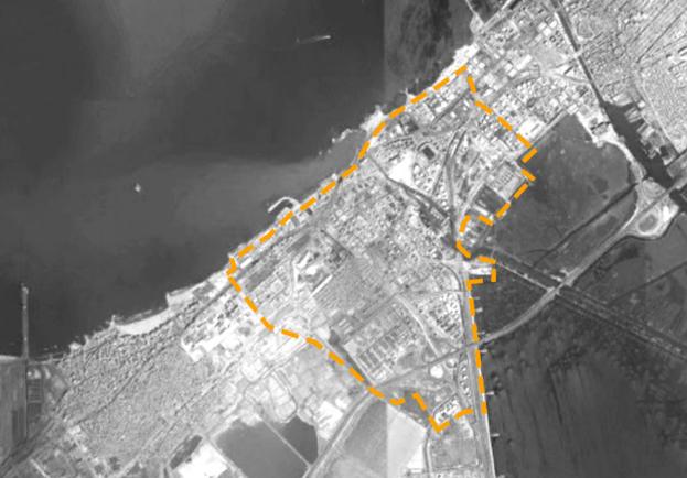 الحدود الإدارية للمكس (المصدر: WIKIMAPIA وتم تعديلها من قبل المؤلف).