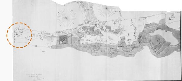 خريطة سنة 1845 توضح وجود المكس على أطراف المدينة ووجود سور عند المنطقة (المصدر:مركز الدراسات السكندرية)