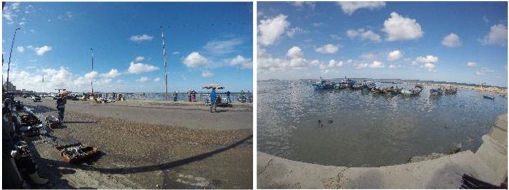 الصورة اليمني توضح مرسي قوارب الصيد في البحر. الصورة اليسرى حلقة السمك في المكس.