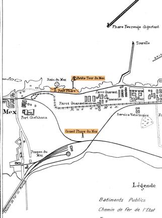 خريطة سنة 1917 توضح منطقة ومنارات المكس (أطلس، جوندت, جاستن)