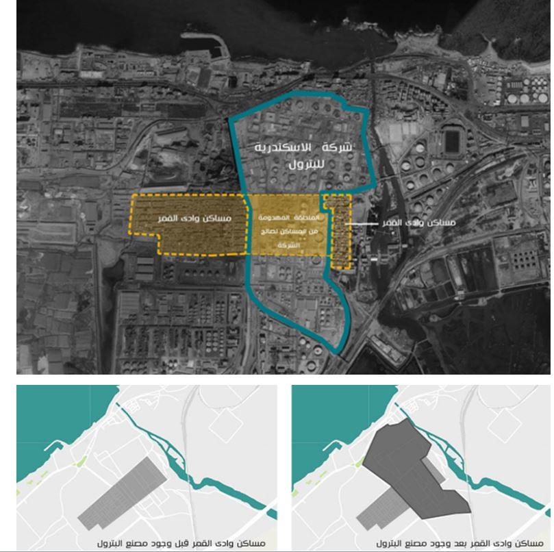 خرائط توضح تهجير جزء من مساكن وادي القمر من قبل شركة الإسكندرية للبترول