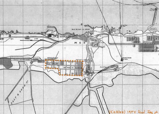 خريطة لسنة 1937 توضح الكتلة العمرانية لمساكن وادي القمر قبل اختراقها بمصنع الإسكندرية للبترول و قبل بناء شركة الإسكندرية لإسمنت بورتلاند. (مركز الدراسات السكندرية)