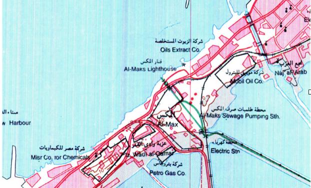خريطة في التسعينات مع وجود المصانع (مركز الدراسات السكندرية)