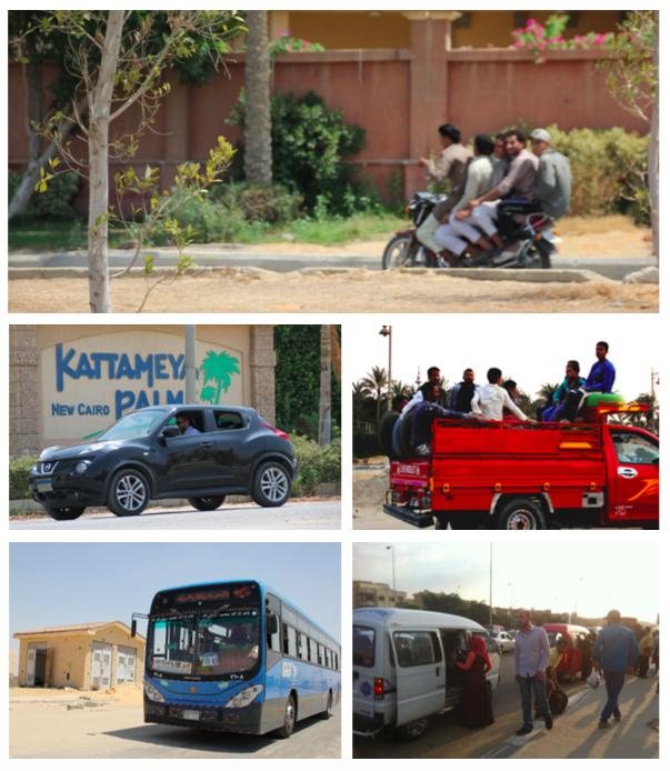 خدمات المواصلات العامة في المدن الجديدة.مصدر:الجامعة الأمريكية بالقاهرة(2015)