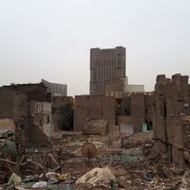 The Ramses Hilton (center) stands above demolished buildings of the Maspero Triangle  Photo: Ayat Al-Tawy