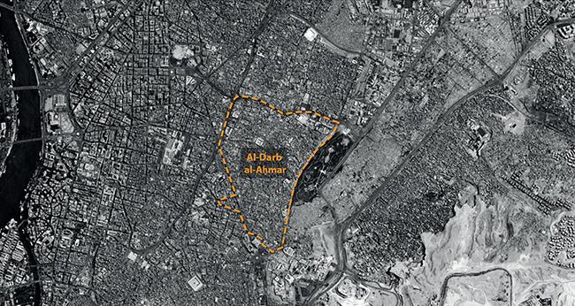 موقع حي الدرب الأحمر في إقليم القاهرة الكبرى