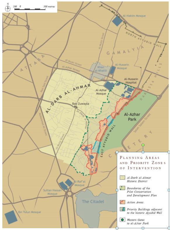 منطقة الدرب الأحمر ومناطق التدخل التابعة للمشروع (صندوق الآغا خان للثقافة، 2005)