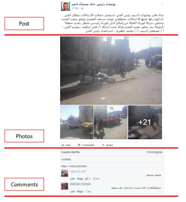 الصورة 2: صفحة رئيس حي منشأة ناصر على فيسبوك والتي تعرض ثلاثة مكونات رئيسة: المنشورات والصور والتعليقات. المصدر: صفحة رئيس حي منشأة ناصر على فيسبوك، 2016