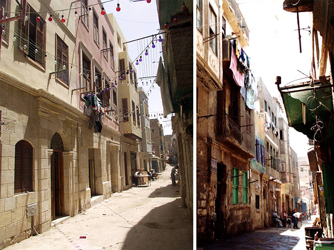 من صور البرنامج: أبنية سكنية قبل (يمين) وبعد (يسار) إعادة التأهيل