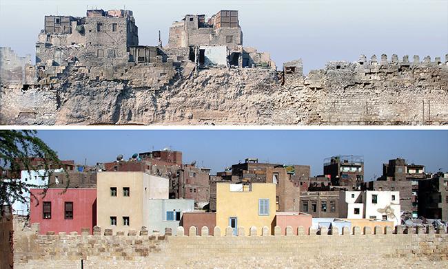 من صور البرنامج: أبنية سكنية قبل (فوق) وبعد (تحت) إعادة التأهيل