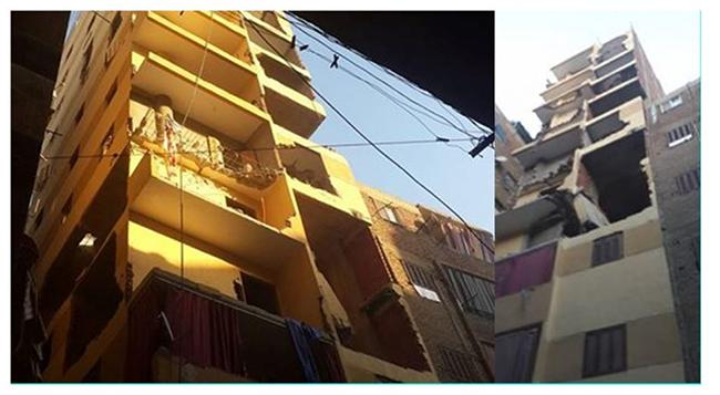 شكل 5: مبنيان مقرّر هدمهما في البساتين لتشيد طوابق إضافية مخالفة لا تتسق مع بقية الطوابق وهو ما قد يشكّل خطراً على المباني المجاورة. المصدر: صفحة رئيس حي البساتين على فيسبوك، 2016.