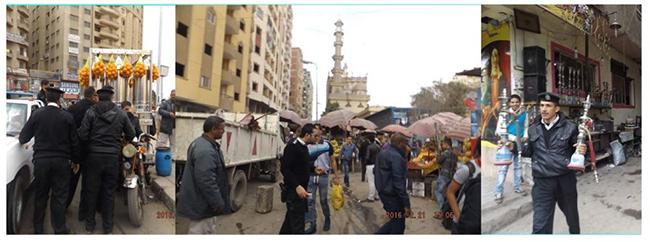 صورة 6: إغلاق محل بائع متجول في حية المطرية ومصادرة بضاعته. المصدر: صفحة رئيس دائرة حي المطرية على فيسبوك، 2016.